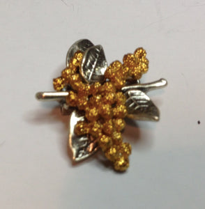 Golden Wattle Brooch  Pewter Antique Silver and Gold  Plated: Peek-a-Boo