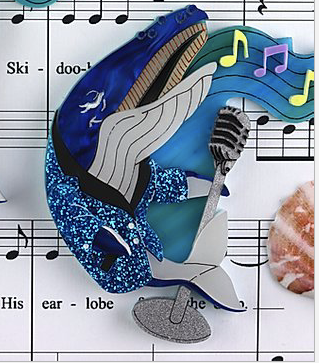 Whale Song  Brooch by Gorydorky + gift Rocklily earrings.  Pre order Avail August date TBA