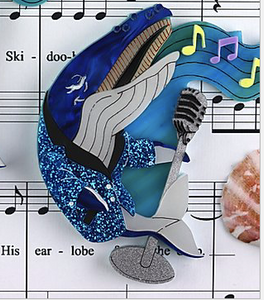 Whale Song  Brooch by Gory dorky + gift Rocklily earrings. in stock