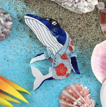 Whale of a Time  Brooch by Gorydorky + gift Rocklily earrings.  Pre order Avail mid-late July