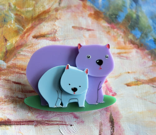 Winnie and Blue Wombats Custom colour limited edition Brooch  by Daisy Jean + Rocklily gift earrings