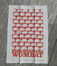 Load image into Gallery viewer, Wombat Rust print on white Linen Tea Towel