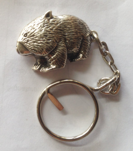 Wombat  Pewter Antique Silver Plated Key Ring