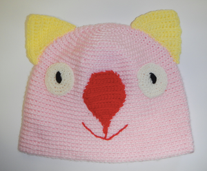 Drop bear, Wombat, Koala Hat 100% wool  X Large Adult:  Pink lemon