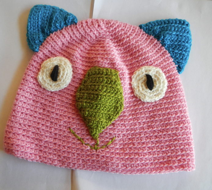 Drop bear, Wombat, Koala Hat 100% wool  X Large Adult:  pink blue