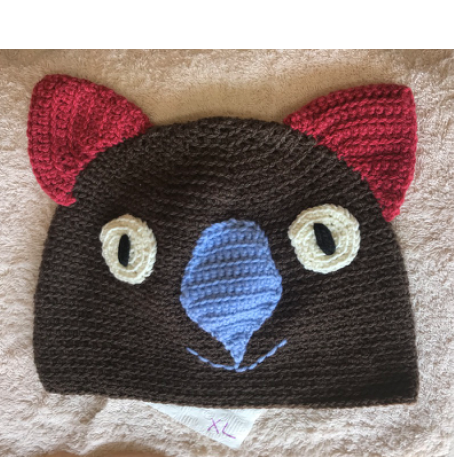 Drop bear, Wombat, Koala Hat  100% Wool  X Large Adult: Brown  Dk Pink sky