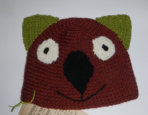 Drop bear, Wombat, Koala Hat 100% wool  X Small Adult: Rust  Green
