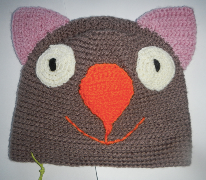 Drop bear, Wombat, Koala Hat 100% wool X  Small Adult: Brown Pink