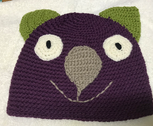 Drop bear, Wombat, Koala Hat  100% wool  X Small Adult:  Burgundy Green Faun