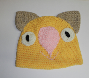 Drop bear, Wombat, Koala  Hat 100% Wool Child: 1 - 3   yrs  Yellow sage