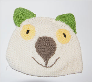 Drop bear, Wombat, Koala Hat 100% wool Adult: large   Pale Cream
