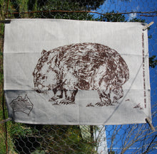 Load image into Gallery viewer, Wombat  Single wombat Tea Towel Natural colour