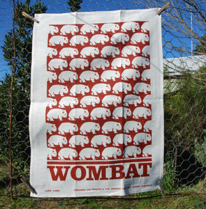 Wombat Tea Towel  Red Earth Print on whie linen