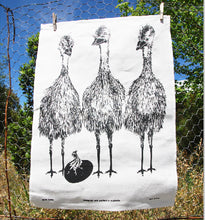 Load image into Gallery viewer, Emu Family Linen Tea Towel