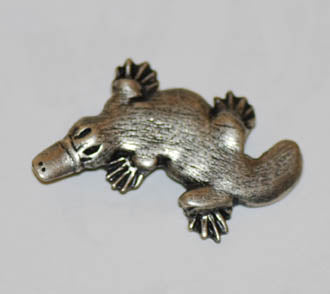 Platypus Brooch Pewter Antique Silver Plated Top V