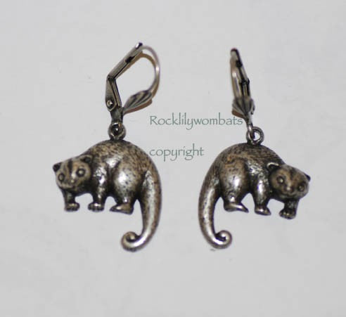 Possum Pewter Earrings Antique Silver Plated