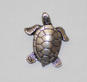 Green Sea Turtle Pewter Brooch Antique Silver Plated -Peek-a-Boo