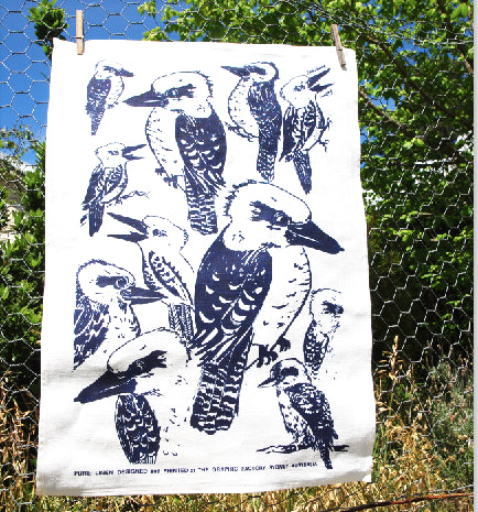 Kookaburra Blue Print on Linen Tea Towel