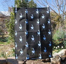 Load image into Gallery viewer, Blue Wren on black Linen Tea Towel