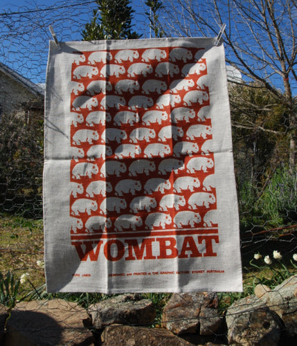 Wombat tea towel natural linen red earth print