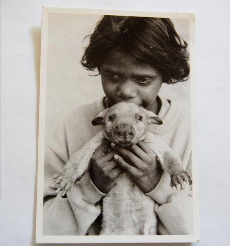 Vintage postcard Girl with rescued southern hairy nosed wombat.
