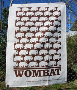 Wombat tea towel natural linen Brown print