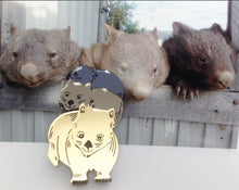 Load image into Gallery viewer, ! Rumble of wombats mirror Brooch By Dianna
