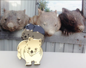 ! Rumble of wombats mirror Brooch By Dianna