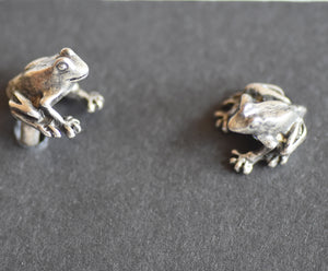 Frog Sitting Pewter Cufflinks Antique copper Plated  Peek-a-Boo