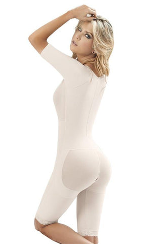 Sofia V-Neck Short Sleeve Body Shaper with Zipper
