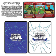 Load image into Gallery viewer, Penguin Brawl: Heroes of Pentarctica - a board game by Team Custard Kraken - Curse and Card Back info image