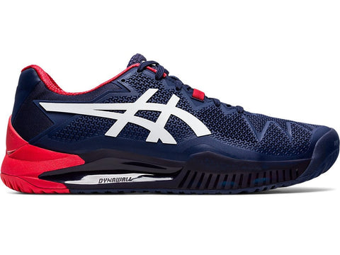 Asics Gel Resolution 8 Mens Tennis Shoe (Dark Blue/White)