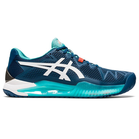 Asics Gel Resolution 8 Men's Tennis Shoe (Blue/White) - RacquetGuys