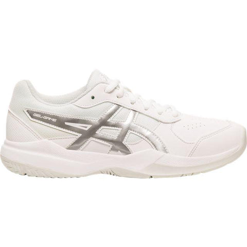 Asics Gel Game 7 Junior Tennis Shoe (White/Silver) - RacquetGuys