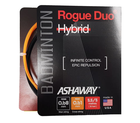 Ashaway Rogue Duo Hybrid Badminton String (Black/Orange)