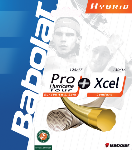 Babolat Pro Hurrican Tour 17 (Yellow) / Xcel 16 Hybrid Tennis String (Natural) Hybrid Tennis String