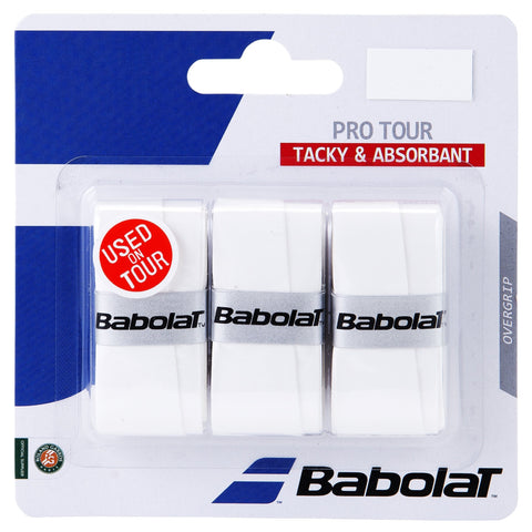 Babolat Pro Tour Overgrip 3 Pack (White) - RacquetGuys