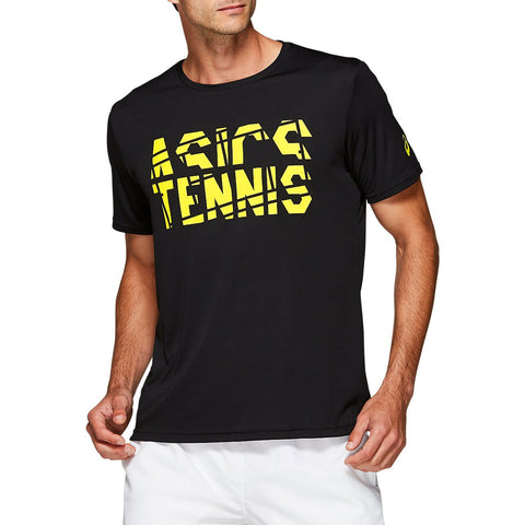 Asics Men's Practice Short Sleeve Top (Black/Yellow) - RacquetGuys
