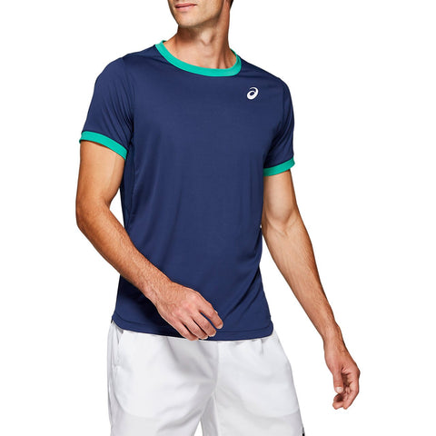 Asics Men's Club Short Sleeve Top (Blue) - RacquetGuys