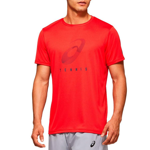 Asics Men's Practice Spiral Graphic Top (Red) - RacquetGuys