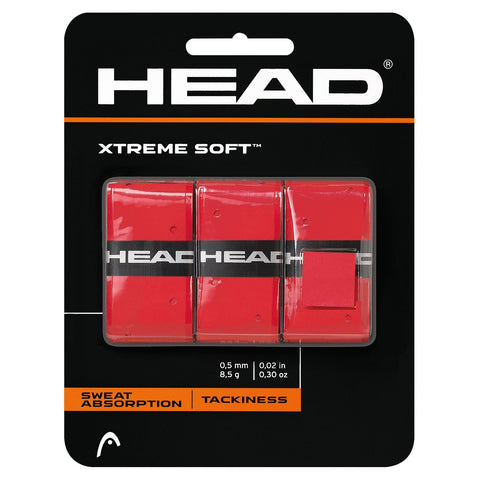 HEAD Xtreme Soft Overgrips 3 Pack (Red) - RacquetGuys