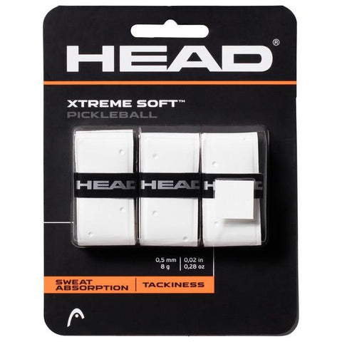 HEAD Xtreme Soft Pickleball Overgrips 3 Pack (White) - RacquetGuys