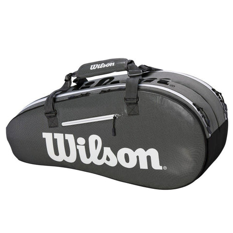 Wilson Super Tour 2 Compartment 6 Pack Racquet Bag (Grey/Black) - RacquetGuys