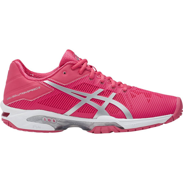Asics Gel Solution Speed 3 Womens Tennis Shoe (Pink/Silver/White)