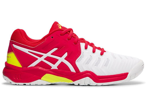Asics Gel Resolution 7 Junior Tennis Shoe (Laser Pink/White) - RacquetGuys