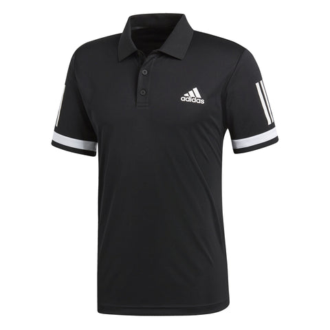 adidas Men's 3 Stripes Club Polo (Black/White) - RacquetGuys