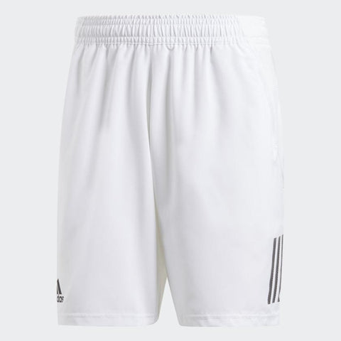adidas Men's Club 3 Stripes 9 Inch Shorts (White/Black) - RacquetGuys