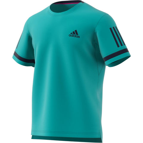 adidas Men's 3 Stripes Club Top (Turquoise) - RacquetGuys