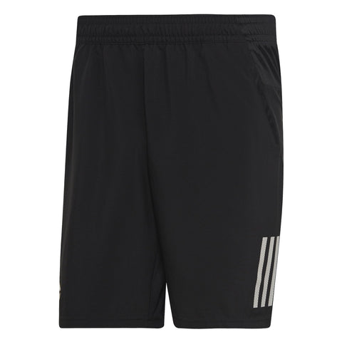 adidas Men's 3 Stripes Club Shorts (Black/White) - RacquetGuys