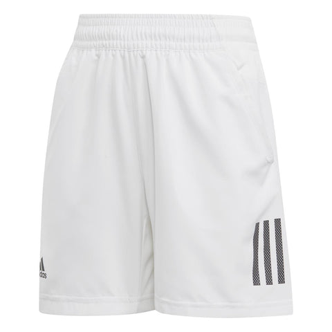 adidas Boy's 3 Stripes Club Shorts (White/Black) - RacquetGuys